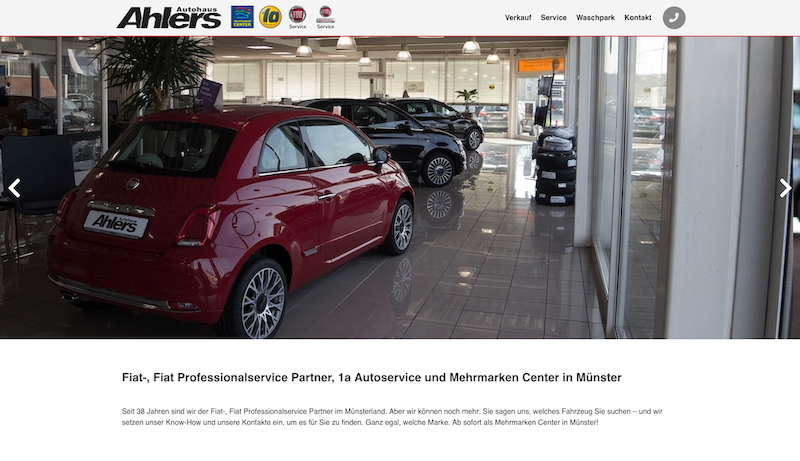 Autohaus Ahlers Website Screenshot (Desktop)