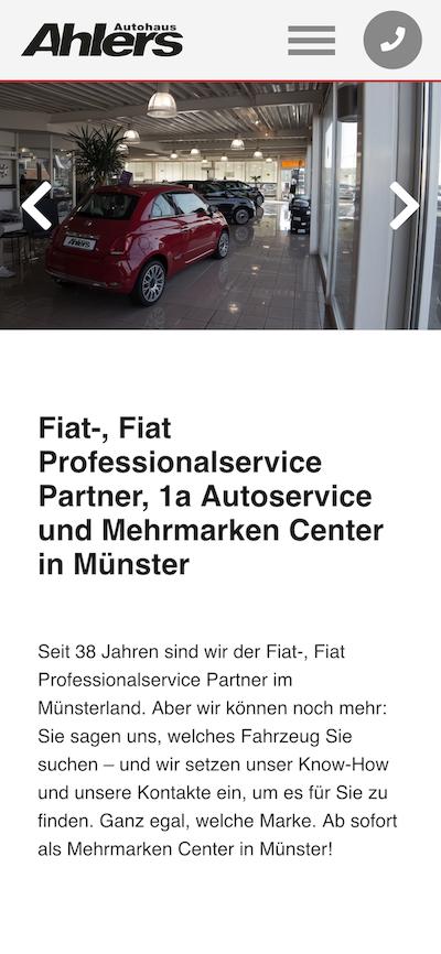 Screenshot der Website vom Autohaus Ahlers