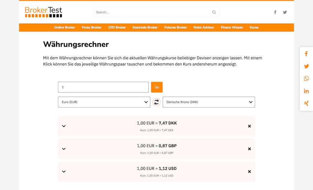 Screenshot vom Broker Test Währungsrechner